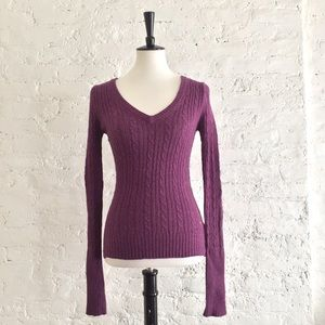 [American Eagle] eggplant cable knit sweater